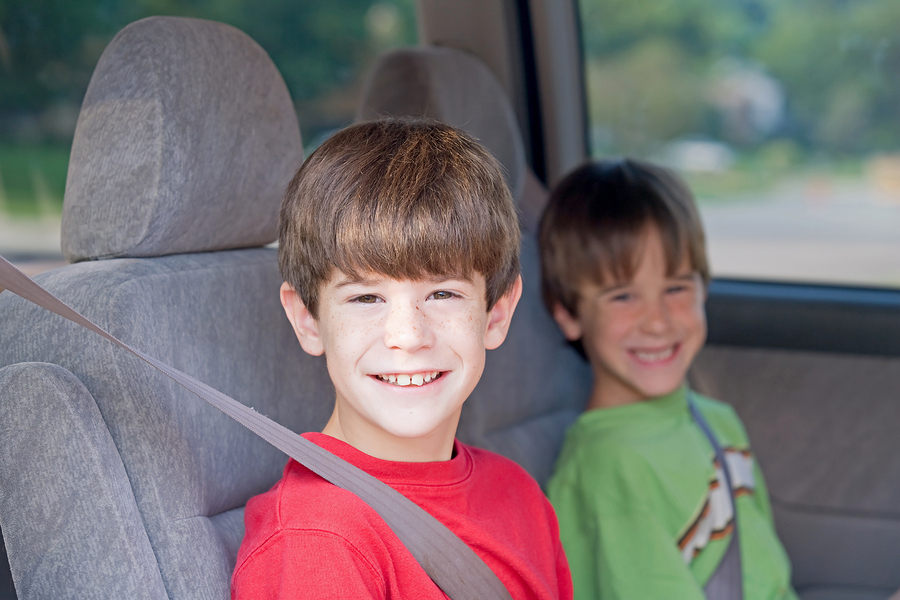 Young Boys Buckled Up in an Automobile