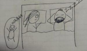 Una mamma racconta la sua nottata con delle vignette
